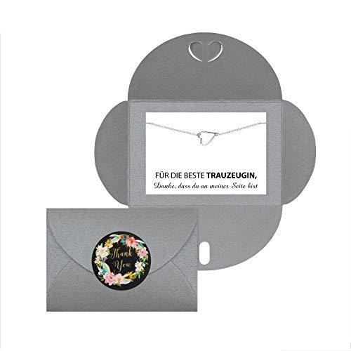 Lillyville - Trauzeugin Geschenk mit Herz Armband Silber und Karte - Für die Beste Trauzeugin - Hochzeit Armkette - Umschlag Grau