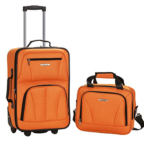 Rockland Fashion Softside Upright Luggage Set, Orange, 2-Piece (14/20)