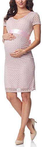 Be Mammy Damen Umstandskleid festlich aus Spitze Kurze Ärmel Maternity Schwangerschaftskleid BE20-162 (Puderrosa2, S)