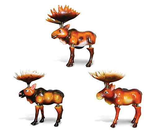 CoTa Global Wild Moose Refrigerator Bobble Magnets Set of 3 - Assorted Color Fun Cute Wild Life Animal Bobble Head Magnets For Kitchen Fridge, Home Decor and Cool Office Decorative Novelty - 3 Pack