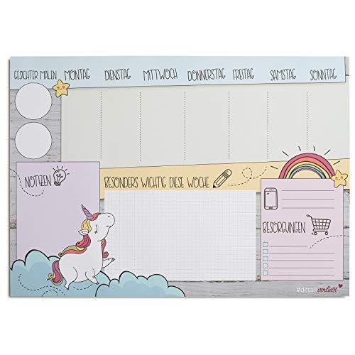 Einhorn Schreibtischunterlage für Mädchen aus Papier I 25 Blatt I DIN A3 I Kinder I Wochenplaner I...