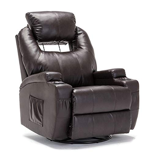 Mecor Massage Recliner Chair with Adjustable Headrest PU Leather Recliner Chair with Heat Rocker Recliner with 360 Degree Swivel/Cup Holders/Remote Control for Living Room (Brown-2)