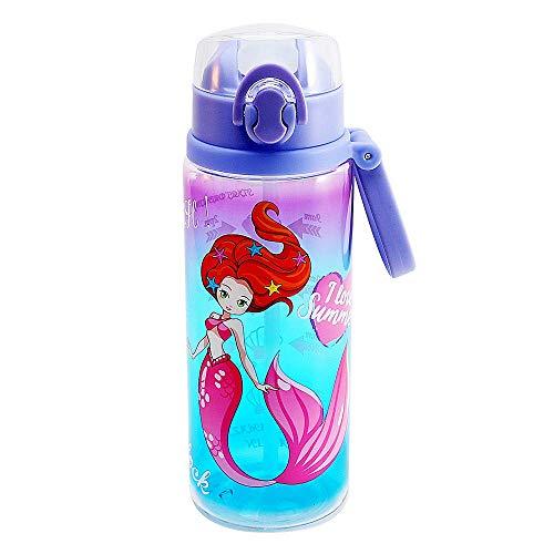 Home Tune 23oz Kids Water Drinking Bottle - Tritan BPA Free, Wide Mouth, Auto Flip Cap, Secure Lock, Easy Open, Lightweight, Leak-Proof Time Marker Water Bottle For Girls & Boys - Mermaid