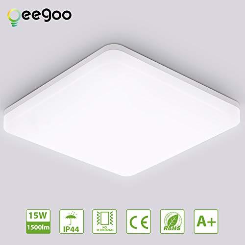 Oeegoo 15W Deckenlampe, IP44 Wasserfest Badlampe, Neutralweiß 4000K LED Deckenleuchte, 1500lm Lampen ideal für Badezimmer Balkon Flur Küche Wohnzimmer, Badezimmerlampe 22x22cm