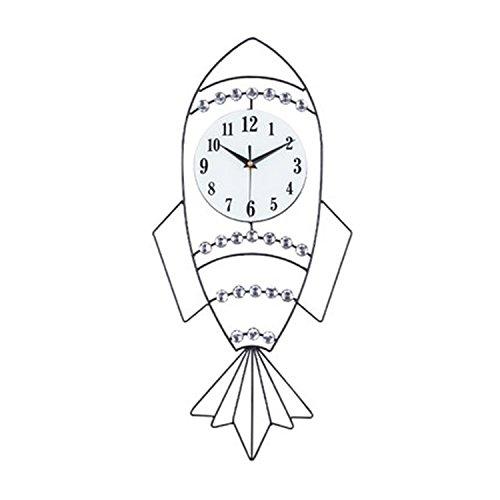horloge murale CivilWeaEU Décorative Enfants Chambre Balayage muet Deuxième Horloge Quartz Petite Horloge Fusée