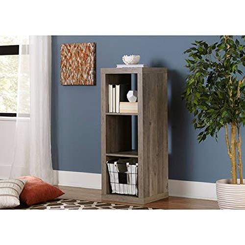 Better Homes and Gardens 4-Cube Organizer Storage Bookcase Bookshelf (4, White) (Rustic Gray, 3 Cube)