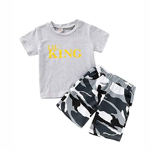 TTLOVE Sommer Kinder Kleidung Infant Baby Boy Kid Brief Gedruckt T-Shirt Tops + Camouflage Shorts Outfits Set(Grau,80)