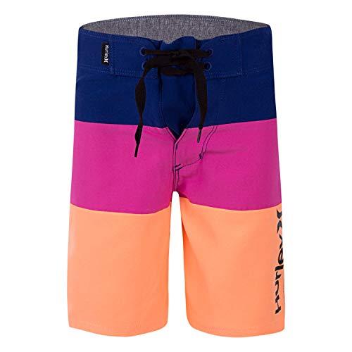 Hurley Boys' Big Board Shorts, Blue/Pink/Orange, 10