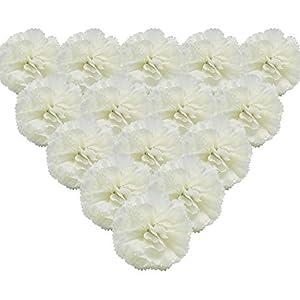 Martine Mall 50Pcs Marigold Flower Heads Bulk Silk Carnation Flowers, Artificial Flowers Carnation Heads with Stems Artificial Chrysanthemum Carnation Bouquets for Home, Wedding, Banquet Decor, White