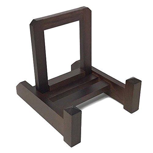 わにぞう 木製皿立て【改】 M (15cm~24cm程度の皿向け) 額縁立て ディスプレイスタンド (M 茶色)