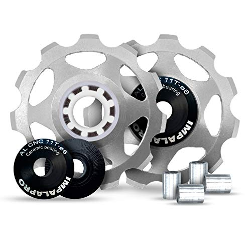 IMPALAPRO BIKE Set 2Roldanas, ruedas o poleas jockey (11T) cambio o desviador trasero aluminio 7075CNC ultraligeras y resistentes con rodamiento cerámica para bici montaña (MTB) o carretera (Plateado)