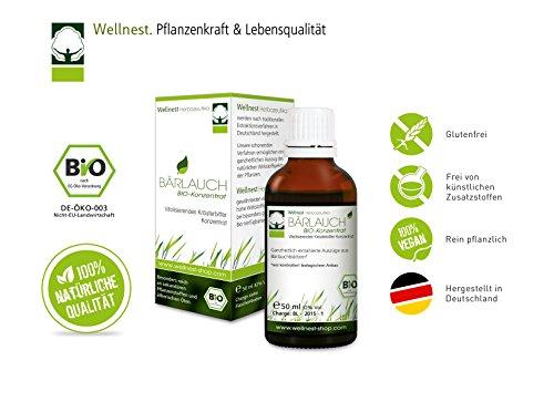 Wellnest Bärlauch Bio Extrakt 50 ml | Detox Konzentrat hochdosiert | Mit wertvollen ätherischen Ölen, Mineralstoffen und Vitaminen