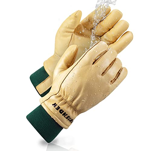 FEISHDEK Leder Handschuhe Arbeitshandschuhe Herren Winter Gartenhandschuhe Dornenfest Damen Wasserdichte Warme Schutzhandschuhe Draussen