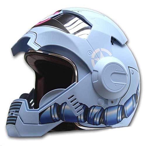 NNYY Motorradhelm, MotocrossHelms Integralhelm Touring Motorrad Harley Vintage Helm Falthelm Rennhelm mit Motorradhandschuhe Motorhelm Iron Man - Persönlichkeit - cool, C, XL