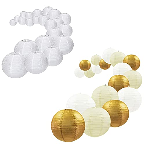 UNIQOOO Assorted Metallic Gold & White Paper Lantern Wedding Party Decoration Set Bundle