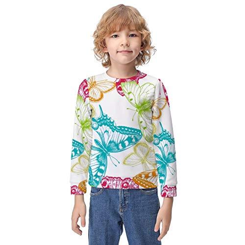 Children Hoodies for Running Training Date, Butterflies Pullover Hoodie Hooded Sweatshirt, Long Sleeves Winter Autumn Tops with Big Pockets