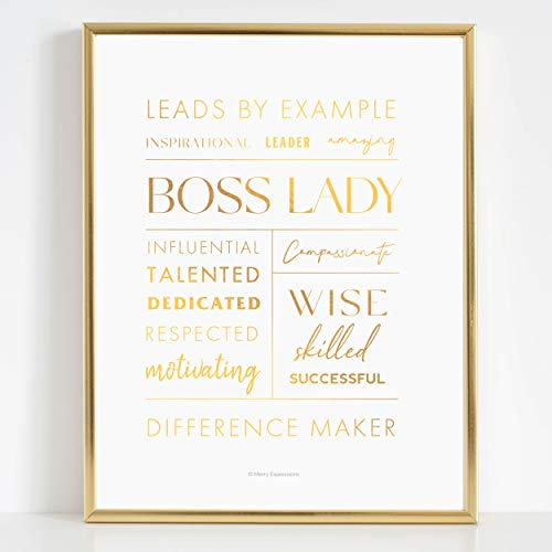 Boss Lady Desk and Wall Art with Aluminum Frame - Boss Lady Office Decor, Boss Lady Gift with Boss Lady Quote by Merry Expressions (Gold, 7' x 9')