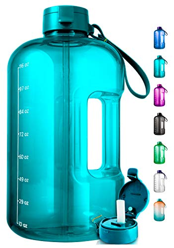 1 Gallon Water Bottle With Time Marker - Large Water Bottle Gallon Water Bottle Motivational One Gallon Water Bottle With Straw 1 Gallon Water Jug With Time Marker 1 Gallon Big Water Bottle Clear