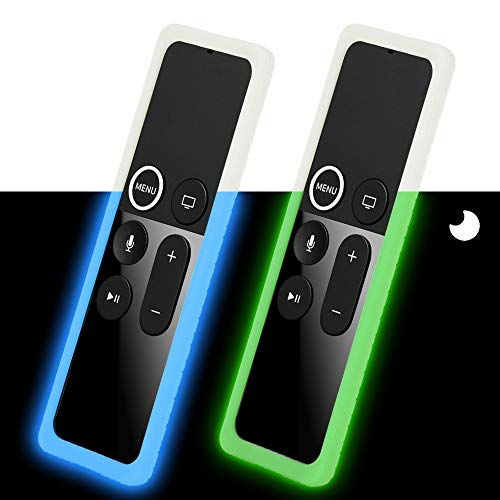 2 Pack Remote Silicone Case Compatible with Apple TV 4K 4th 5th Gen Remote, Anti-Slip, Shock Proof Protective Cover for Apple TV 4K 4th 5th Siri Remote Controller - Green Glow and Blue Glow