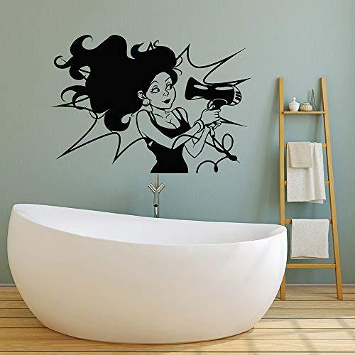 Tianpengyuanshuai Mujer peluquería Vinilo Pared calcomanía salón de Belleza secador de Pelo baño Moderno decoración del hogar Etiqueta de la Pared autoadhesiva 52x75cm