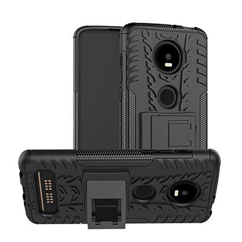 TiHen Handyhülle für Motorola Moto Z4 Play Hülle, 360 Grad Ganzkörper Schutzhülle + Panzerglas Schutzfolie 2 Stück Stoßfest zhülle Handys Tasche Bumper Hülle Cover Skin mit Ständer -Schwarz