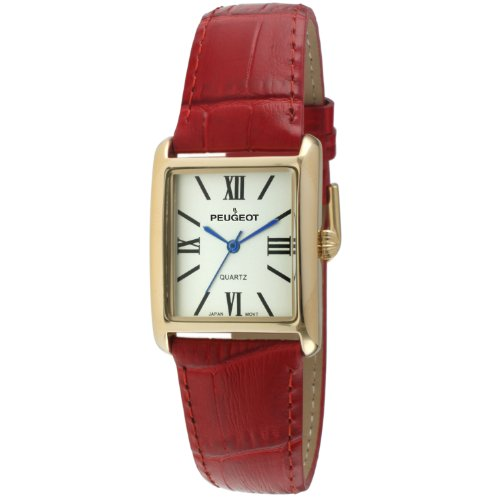 Peugeot Women's 14K Gold Plated Tank Leather Dress Watch with Roman Numerals Dial, Red