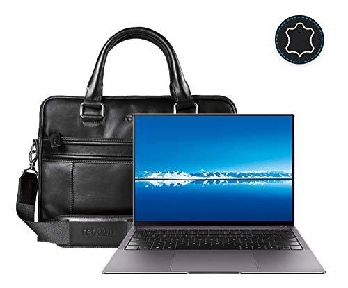 Leder Laptoptasche für Damen/Herren passend für Huawei MateBook X Pro   Schwarz