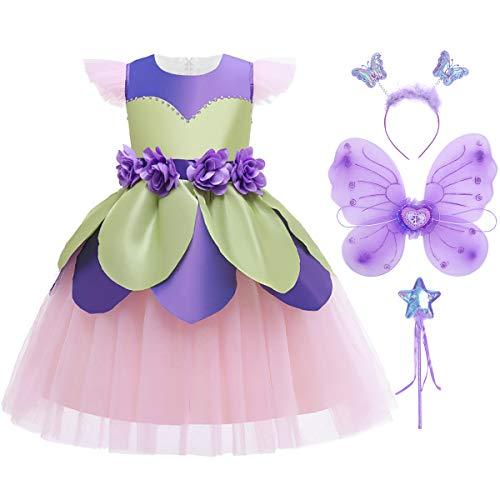 IMEKIS - Disfraz de campanilla de hadas para nias, disfraz de princesa, vestido de flores, volantes, tut, falda de mariposa, varita para fiesta de cumpleaos, Halloween, Navidad, carnaval, juego