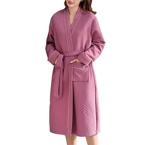 Albornoz Mujeres Cálidas Túnicas Loungewear Albornoz Super Soft de Algodón con Bolsillos para el Hotel Travel Home (Color : Pink2, tamaño : Medium)