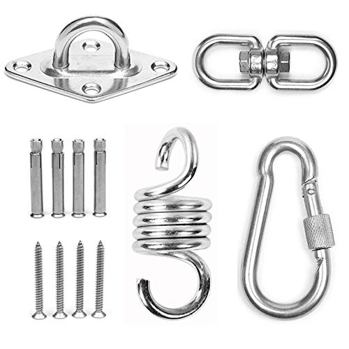 304 Stainless Steel Swing Hooks Heavy Duty with Carabiner and Screws Accessories, Capacity up to 500KG, Premium Hammock Hooks for Concrete Wooden Ceiling Sets, Indoor Outdoor Seat Trapeze Yoga, GYM