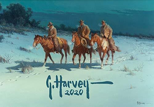 Calendario de pared 2020 [12 páginas 8 x 11 pulgadas] Cowboys and Pioneers in Wild West por G Harvey Vintage Magazine Illustration