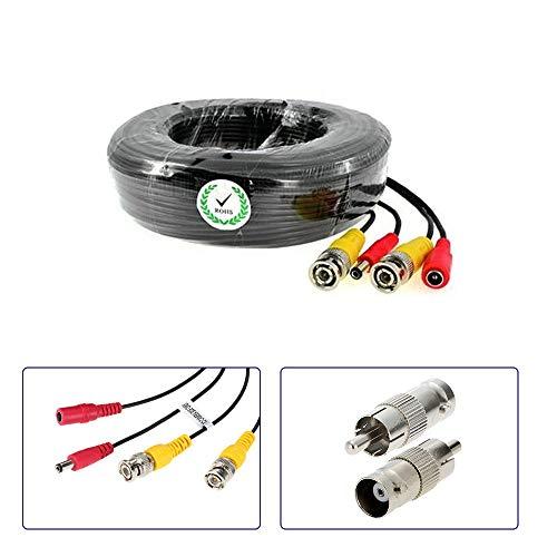 KKmoon Video-Kabel für CCTV Überwachungskameras (BNC männlich und Netzteil) 40M