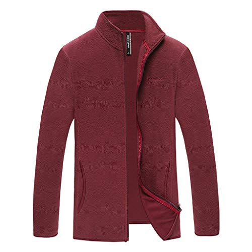 Smoxx Men's Sweatshirt Collar Jacket Clothing Simple Pure Color Cardigan Personal Jackets Coat Tops Outwear Red