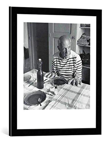 kunst für alle Bild mit Bilder-Rahmen: Robert Doisneau Les Pains de Picasso - dekorativer Kunstdruck, hochwertig gerahmt, 50x60 cm, Schwarz/Kante grau