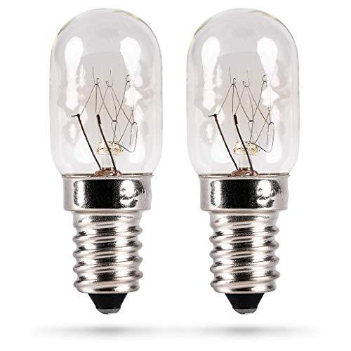 HEITECH Kühlschranklampe 2er Pack 15W E14 - Glühbirne für Nähmaschine, Dunstabzugshaube, Vitrine, Salzsteinlampe, Kühlschrank, Gefriertruhe - Kühlschrank Lampe mit T22 Kapsel, 90 Lumen & 2500K