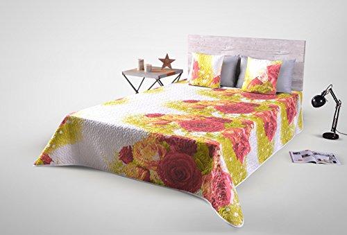 DecoKing 220x240 cm Tagesdecke Bettüberwurf Steppung Pflegeleicht Blumenmuster Blumen weiß rot olivengrün gelb orange