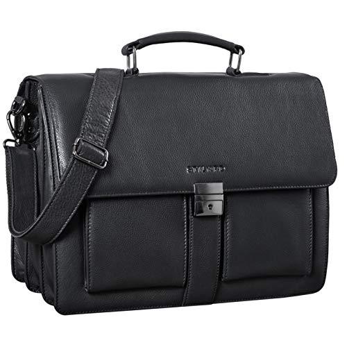 STILORD 'Eros' Aktentasche Leder 15,6 Zoll Laptoptasche Business Umhängetasche Große Arbeitstasche XL Vintage Ledertasche mit Dreifachtrenner, Farbe:Obsidian schwarz