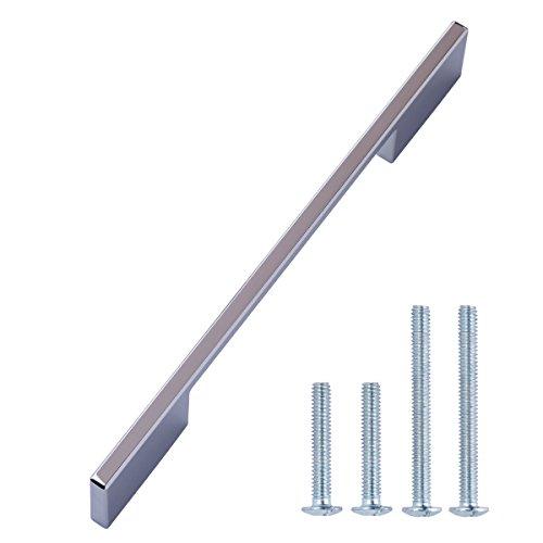 AmazonBasics - Steggriff, Möbelgriff, breit, modern, Lochmitte zu Lochmitte: 16 cm, Poliertes Chrom, 10er-Pack