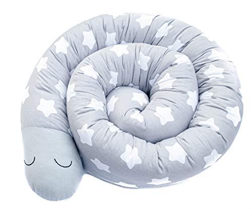 homedekor Bettschlange 210 cm x 13 cm - Handmade in EU - Bettumrandung Nestchenschlange Kissenrolle Bettschutzgitter - Rausfallschutz und Kantenschutz für Babybett und Kinderbett (Sterne)