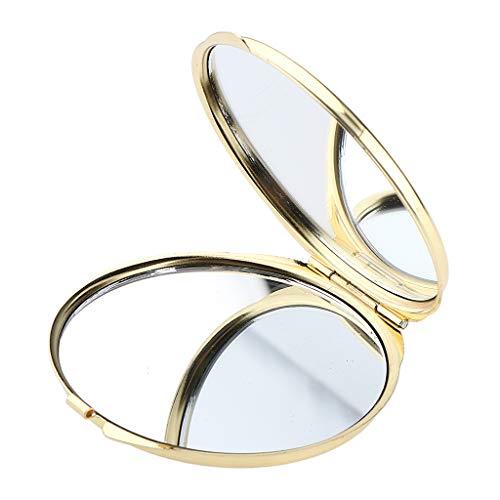 Fenteer Reise Tragbar Doppelseitig Taschenspiegel Kompakter Schminkspiegel Klappbar Kosmetikspiegel - Golden