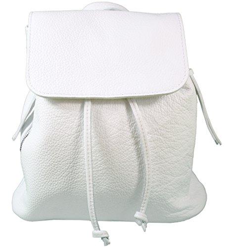 Ital. Echtleder Damen Rucksack Leichter Tagesrucksack Daypack Lederrucksack Damenrucksack versch. Farben erhältlich (Weiß)