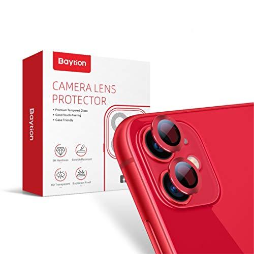 [2 Pack] Protector Cámara iPhone 11, Protector Camera iPhone 11 6.1'' [Alta definición] [Caso amistoso] [Resistencia al Rayado] ((Product) Red)