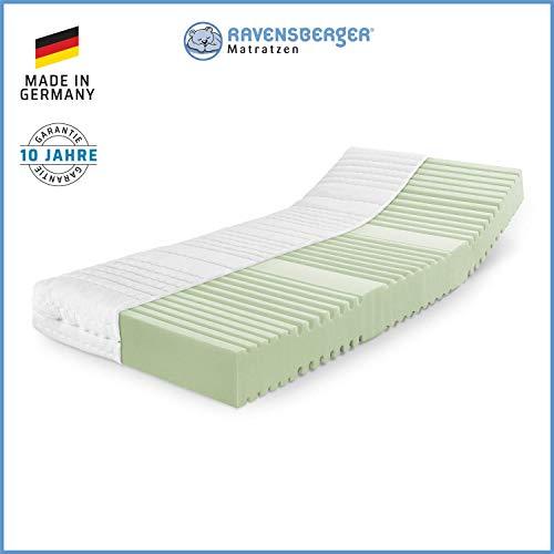 RAVENSBERGER Orthopädische | 7-Zonen-HR-Kaltschaumkomfortmatratze | RG 40 Härtegrad 2 (45-80Kg) | Made IN Germany - 10 Jahre GARANTIE | Baumwoll-Doppeltuch-Bezug | 140 x 200 cm