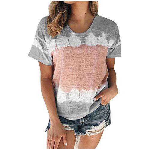 Aniywn Plus Size T-Shirt,Women Summer Casual O-Neck Short Sleeve Printing Patchwork Tunic Tops Basic Shirts Gray