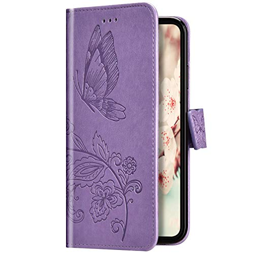 Uposao Kompatibel mit Samsung Galaxy A10 Hülle Schutzhülle Lederhülle 3D Schmetterling Blumen Muster Handyhülle Leder Tasche Brieftasche Klapphülle Flip Case Magnet Kartenfächer,Lila