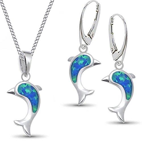 GH* KIDS Opal Delfin BRISUR OHRRINGE + ANHÄNGER + PANZERKETTE 38-50cm 925 Echt Silber Rhodiniert mit synth. Opale Damen Mädchen Set Kinder Ohrhänger KCR014-Delphin Blau (38)