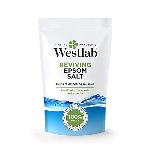 Westlab Sel de bain revitalisant Epsom - Sachet refermable de 2 kg - Pur et non parfumé