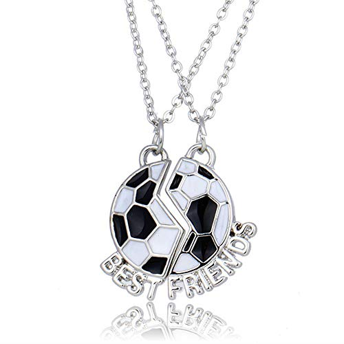 SIVITE Best Friends Necklace Football Pendant Necklace 2 Piece BFF Friendship Necklace for Kid Boys Girls
