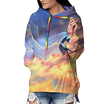 Novelty Hoodies with Front Pocket for Women & Girls Long Sleeves Sweatshirts for Running Fishing Yoga Fit Tunic Top Blouse - Fantasy Fire Dragon Angel Wings