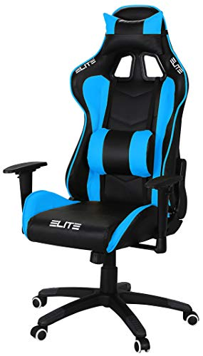 ELITE Racing Gaming Stuhl MG-200 - Bürostuhl – Kunstleder - Ergonomisch - Racer – Drehstuhl – Chair – Chefsessel – Schreibtischstuhl (Schwarz/Blau)